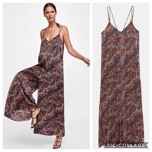Zara Paisley Print Jumpsuit Wide Leg Oversized Fit